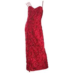 Beautiful Vintage Lipstick Red Large Size Beaded + Sequin Custom Made Gown
