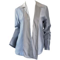 Jil Sander 1990s Silk Silver Metallic Minimalist Asymmetrical Blazer Jacket