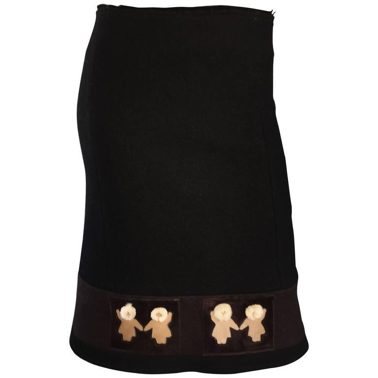 1990s Prada Black + Brown Wool & Pony Hair Novelty ' Eskimo ' Pencil Skirt