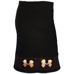 1990s Prada Black + Brown Wool & Pony Hair Novelty ' Eskimo ' Pencil Skirt