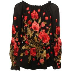 Naeem Khan Black Silk Peasant Blouse with Floral Embroidery - M