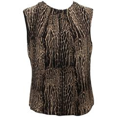 Giambattista Valli Grey & Black Silk Animal Print Top - 44