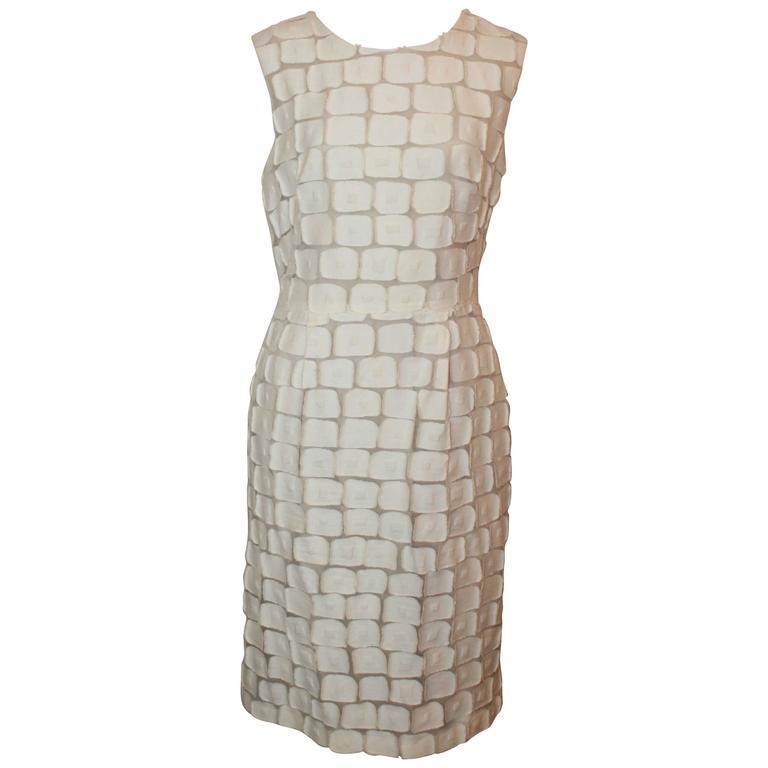 Lela Rose Ivory Cotton Blend Sleeveless Patchwork Dress - 8 For Sale
