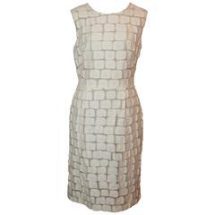 Lela Rose Ivory Cotton Blend Sleeveless Patchwork Dress - 8