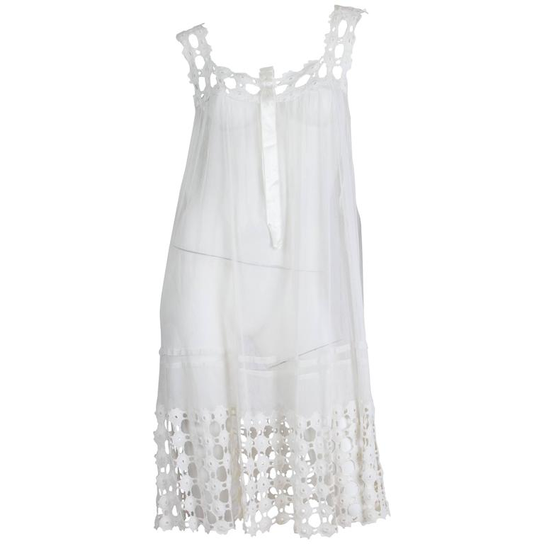 1920s Cotton Net and Lace Dress