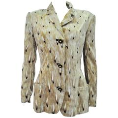 Very Rare Gianni Versace Abstract Plume Print Crushed Velvet Jacket