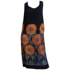 1920S Gold Lamé Silk Jacquard Cocktail Dress With Large Orange & Blue Flowers