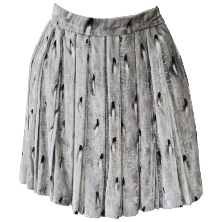 Gianni Versace Couture Abstract Plume Print Crushed Velvet Pleated Mini Skirt