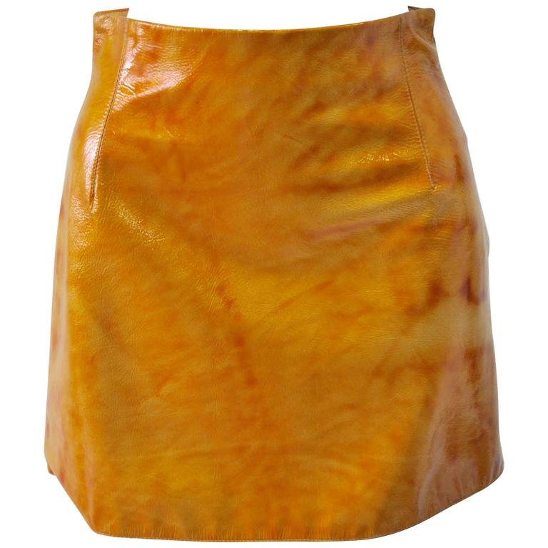 Very Rare Gianni Versace Couture Golden Lustruous Pleather Mini Skirt