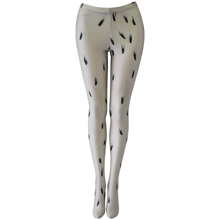 Rare Gianni Versace Intimo Abstract Plume Print Leggings