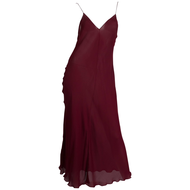 1990S DONNA KARAN Burgundy Bias Cut Silk Chiffon Slip Dress