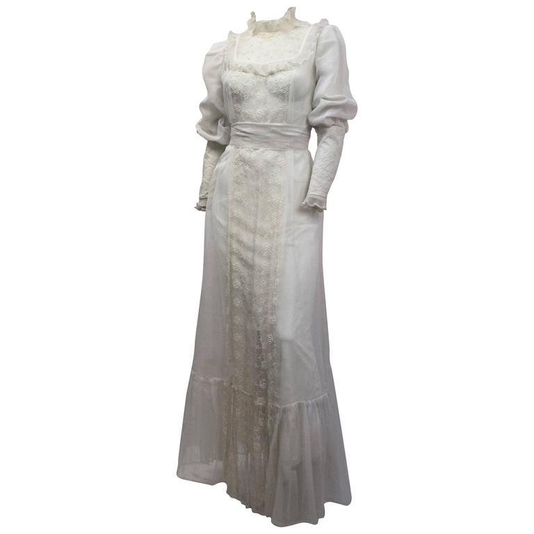 70s Victorian Revival Sheer Lace Maxi Dress  1