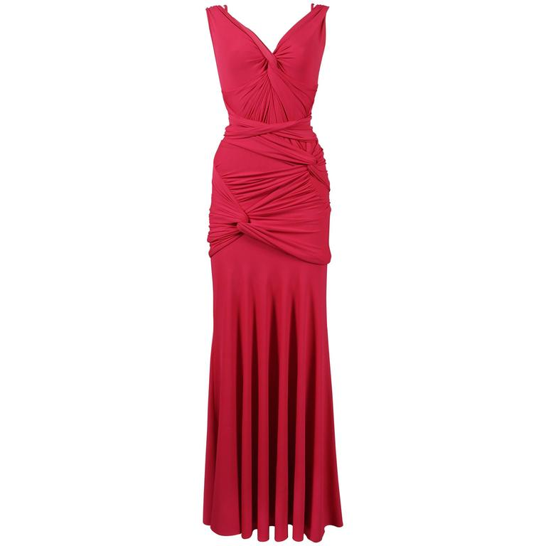 Donna Karan Knotted Jersey Evening Dress C 2005 For
