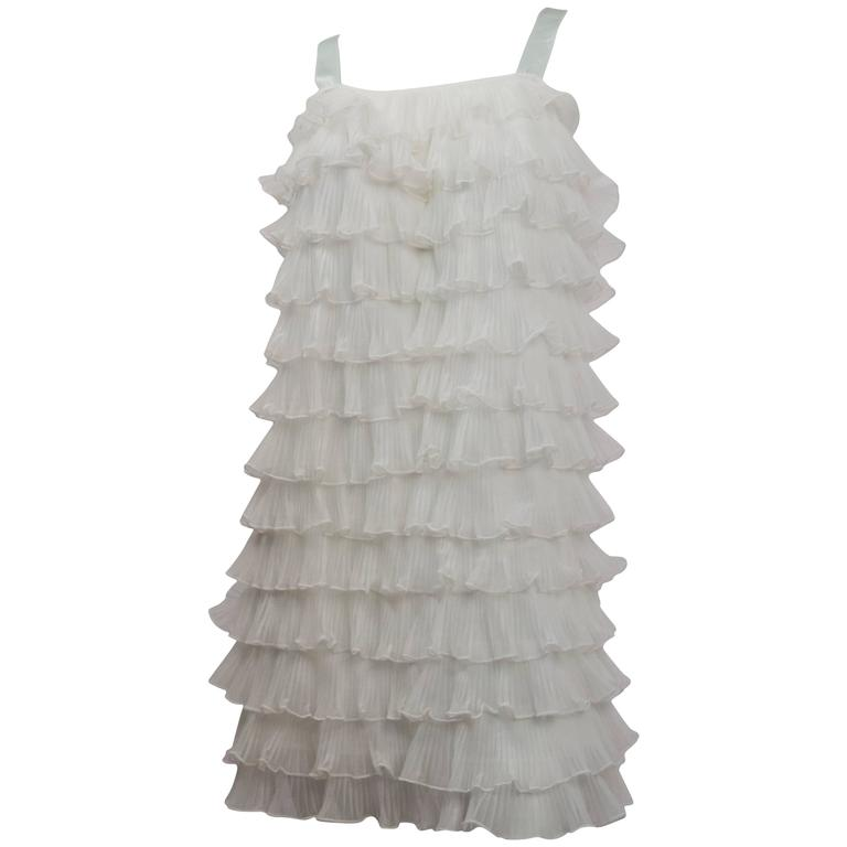 60s Tiered Ruffle Shift Dress For Sale