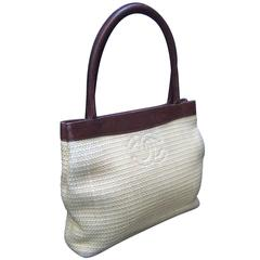 Chanel Woven Raffia Brown Leather Trim Handbag Made in Italy