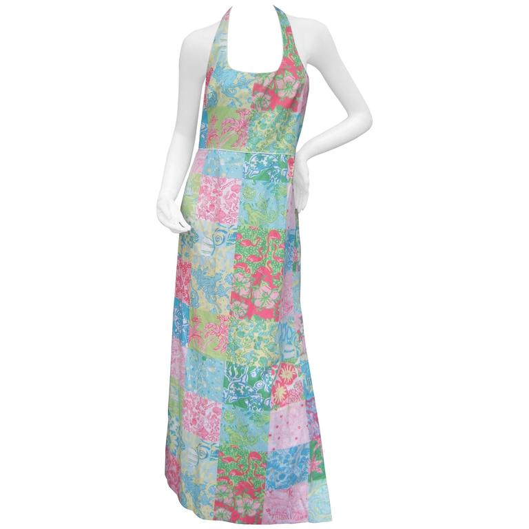 Lilly Pulitzer Vibrant Sea Life Cotton Halter Gown