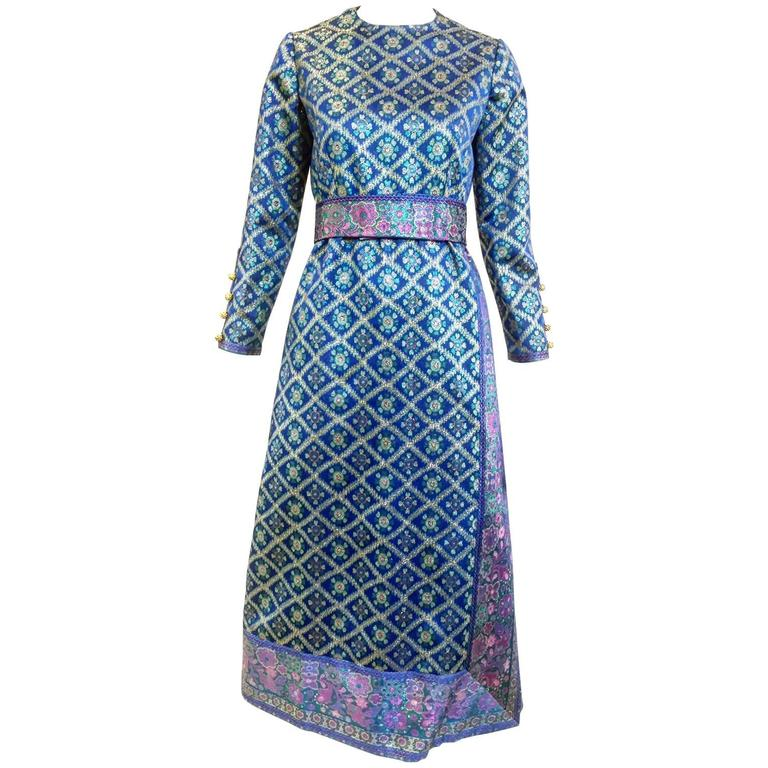 1970s Oscar De La Renta blue metallic brocade  70s vintage dress