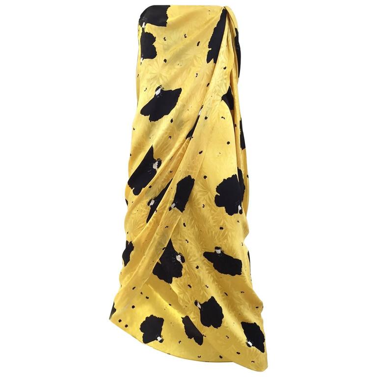 Vintage  Bill Blass Yellow and Black Print Silk Dress