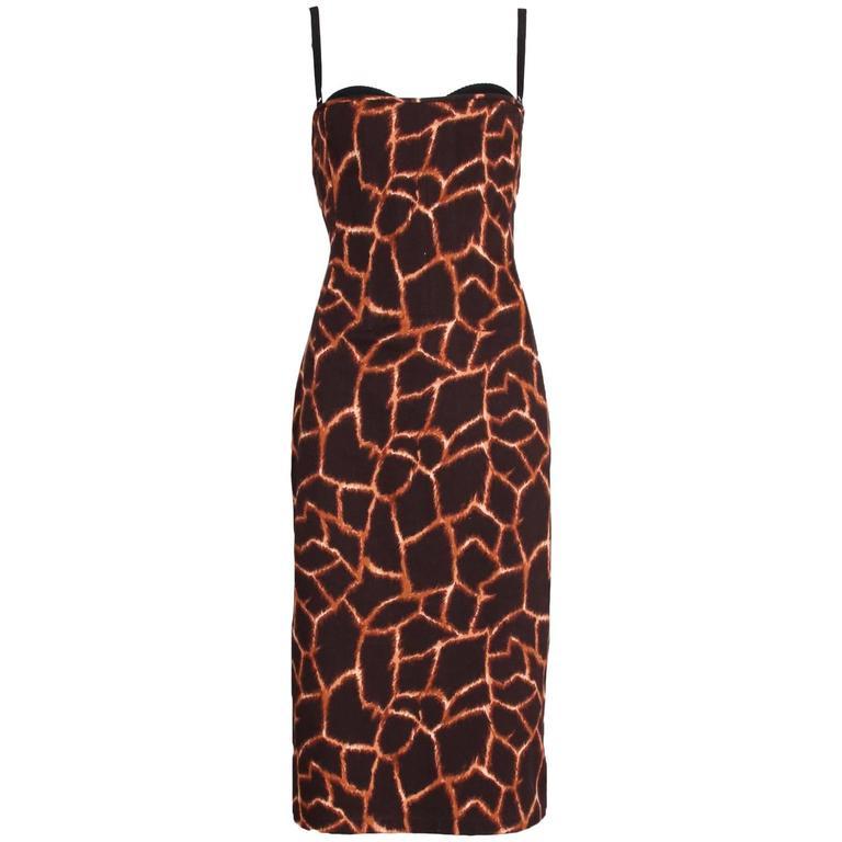 Dolce & Gabbana Giraffe Print Bustier Dress 1