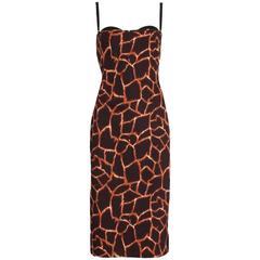 Dolce & Gabbana Giraffe Print Bustier Dress