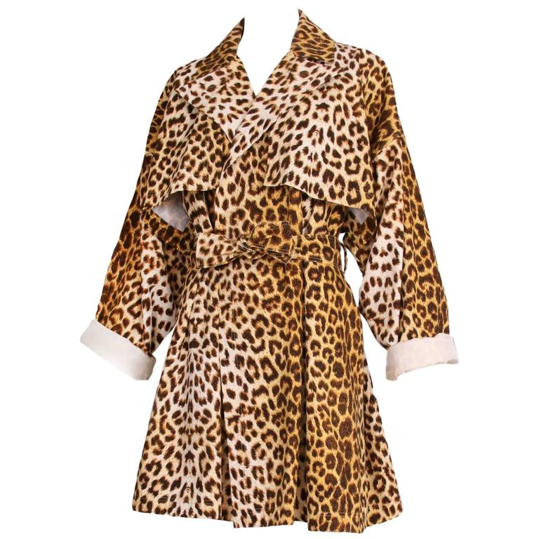 Patrick Kelly Cotton Leopard Print Trench Coat w/Belt For Sale