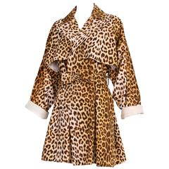 Patrick Kelly Cotton Leopard Print Trench Coat w/Belt