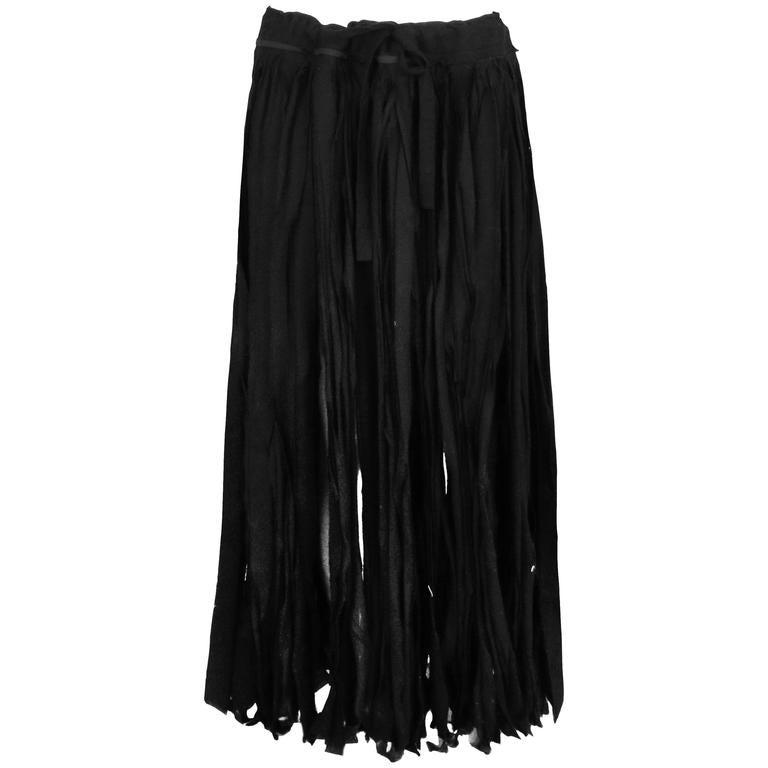 Yohji Yamamoto Black 100% Cotton Carwash Skirt  For Sale