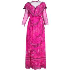 Zandra Rhodes Fuchsia Printed & Beaded Chiffon Dress w/Illusion Top