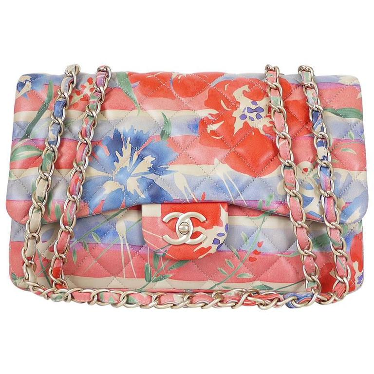 cb5a57a0ed76 Chanel Floral Print Lambskin Jumbo Maxi Classic Flap Bag Rare For Sale