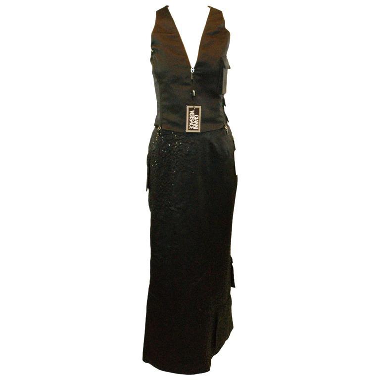 Nwt F/W 1998 Atelier Versace Runway Beaded Black Silk Cargo Top & Skirt Ensemble
