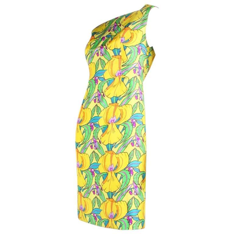 1960's La Mendola Yellow Silk Day Dress