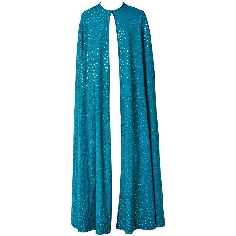 Clovis Ruffin Teal Blue Jersey Sequined Cape 1