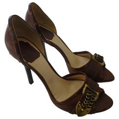Christian Dior Brown D'Orsay Logo Pumps (39) With Box