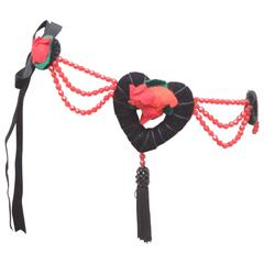 Moschino Heart & Rose Tassel Belt Necklace