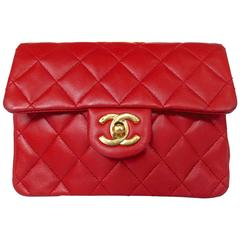 "Rare early 1990s ""Lipstick Red"" Chanel Quilted Leather Handbag"
