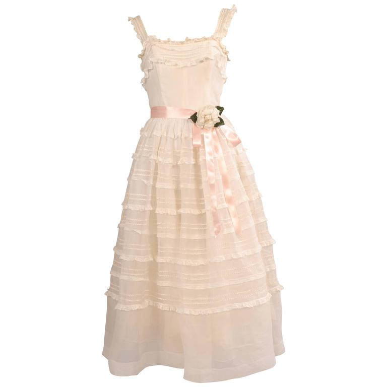 1950's Organza and Lace Tea Length Dress
