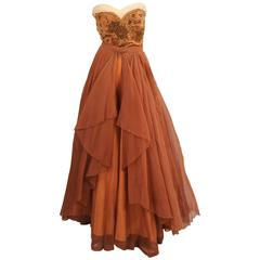 1950's Three Piece French Ballgown with Beaded Bustier and Two Skirts