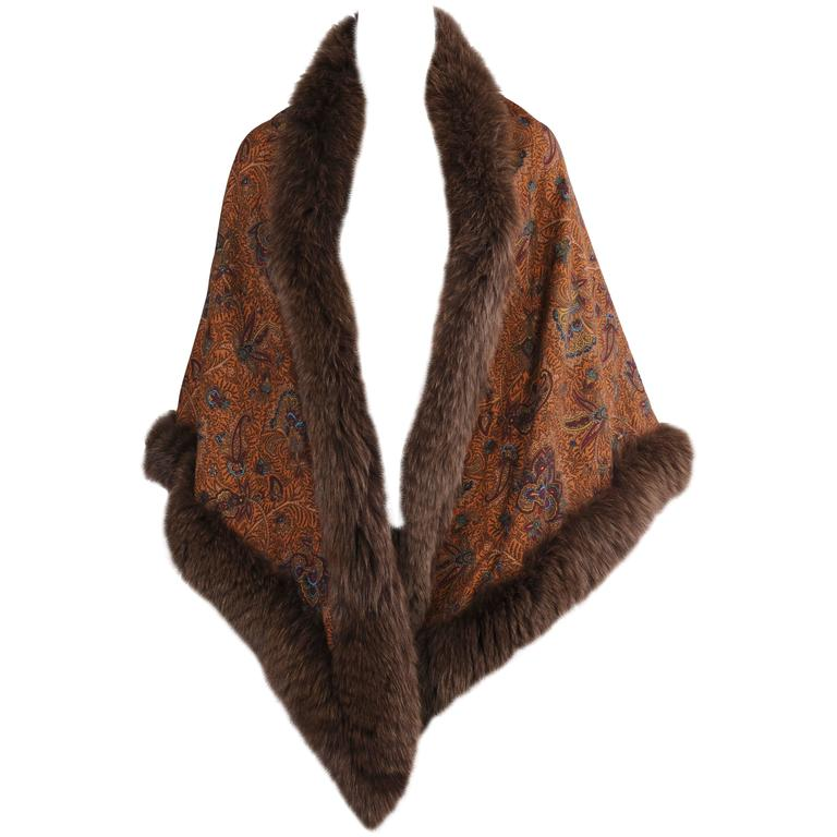Reversible Double Sided Paisley or Camel Shawl with Fox Trim