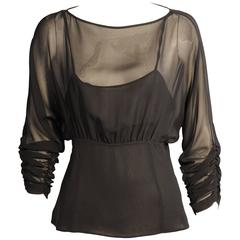 Karl Lagerfeld Black Silk Chiffon Blouse with Camisole