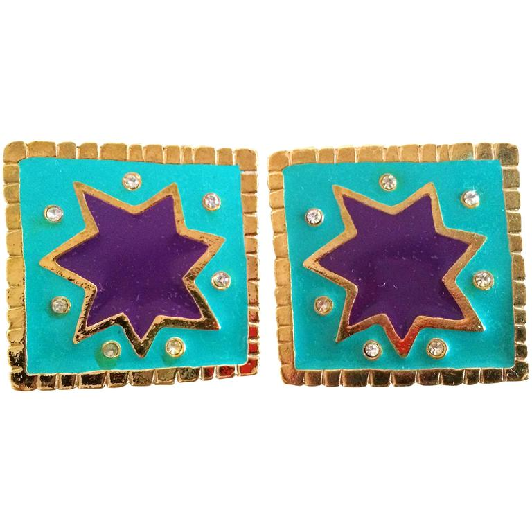 Vintage Christian Lacroix blue and purple enamel large square earrings, crystals For Sale