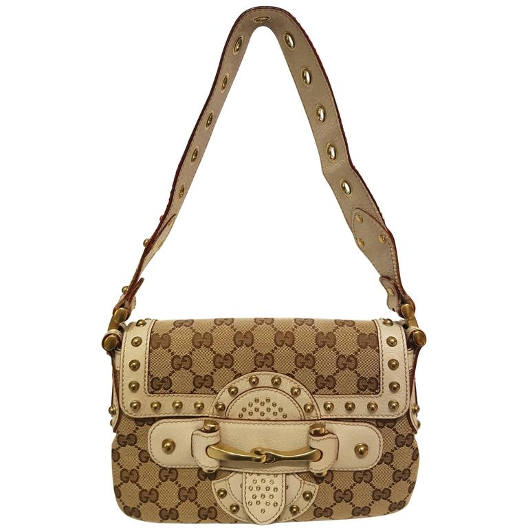 Gucci Monogram with Studs Shoulder Bag