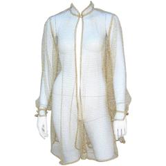 c.1970 Gottex Gold Fishnet Swimsuit Cover-Up