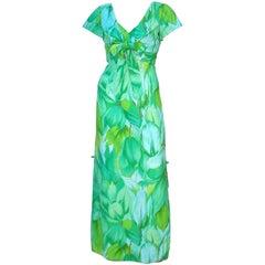 1970s Stan Hicks for Hawaiian Casuals Exotic Tropical Print Dress