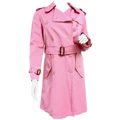 BURBERRY LONDON Signature Pink Fringed Trench Coat New