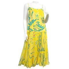 RALPH LAUREN Black Label Yellow Silk Spaghetti Strap Floral Print Summer Dress