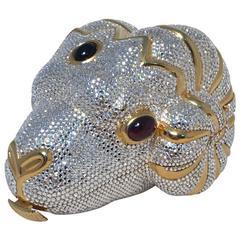 RARE Judith Leiber Swarovski Crystal Ram Head Minaudiere