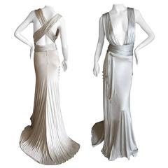 Versace Low Cut Vintage Silver Siren Gown