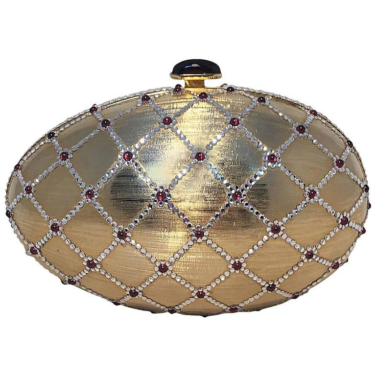 Judith Leiber Swarovski Crystal Gold Egg Minaudiere For Sale