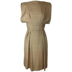 Teal Traina Raw Silk Dress .   Early 1960's.