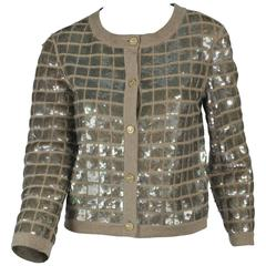 "2008P Chanel Beige Cashmere Cardigan With 1"" square sequins & Gold Buttons FR 40"